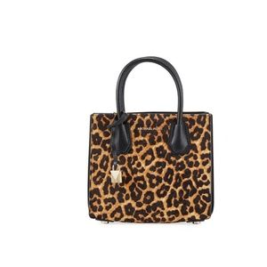 Michael Kors Mercer Medium Leopard Calf Bag Purse